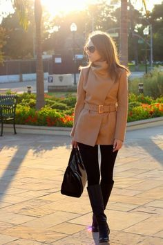 black on black + camel coat