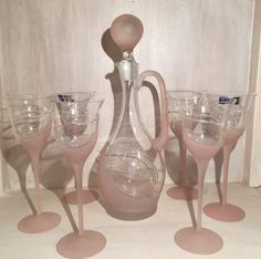 Vintage 7 Piece Handcrafted Soft Pink Frosted Crystal Wine Decanter With 6 Wine…