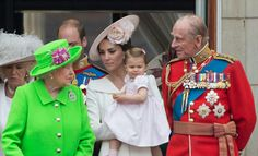 The Cambridge family prince william duke of Cambridge his wofe princess Catherine thr duchess of Cambridge with their children prince George Alexander Louis of Cambridge and princess Charlotte Elizabeth diana of Cambridge along with the queen and other members of royal family appeared on balcony on the trooping the color 11 june 2016