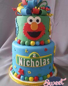 2nd Birthday, Birthday Ideas, Sesame Street Cake, Baby Zebra, Elmo, Party Cakes, Baby Shower, Children, Sweet