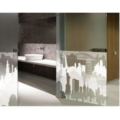 Looking for bathroom ideas? Add a #decowall decorative window film to bare glass and upscale your bathroom instantly!!!