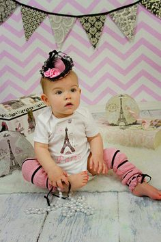 Baby girl first birthday oufit Paris theme one by mmhandmades