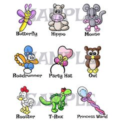 Hey, I found this really awesome Etsy listing at https://www.etsy.com/listing/248590628/balloon-animal-menu-5