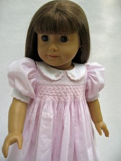 American Girl Doll Clothes Smocked Pink Dress with by MyAngieGirl, $75.00