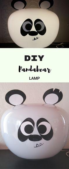 Pandalampe, Lampe fürs Kinderzimmer, Ikea hacks, Monstamoons, panda crafts, DIY pana lamp, pandabear crafts, craft a lamp