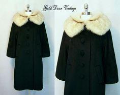 Deadstock Gorgeous Vintage LILLI ANN Black Mohair FOX FUR Trim Princess Coat XL