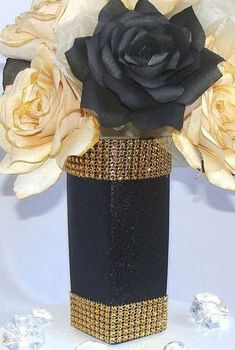 Black And Gold Centerpieces, Paper Flower Centerpieces, Paper Flowers, Bling Centerpiece, Gold Wedding Decorations, Wedding Centerpieces, Wedding Table, Black And Gold Party Decorations, Table Decorations