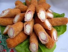 Aleda cuisine: stuffed with ham and cheese Meat Recipes, Cooking Recipes, Brunch Party, Ham And Cheese, Finger Foods, Catering, Good Food, Food And Drink, Appetizers