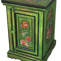 Helmi Floral Bedside Cabinet in Emerald - Casafina