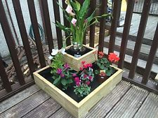 WOODEN SQUARE TIERED GARDEN DECKING PLANTER ***FULLY LINED  MITRED CORNERS***