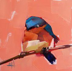 Bluebird+no.+18+original+bird+oil+painting+by+by+prattcreekart,+$50.00