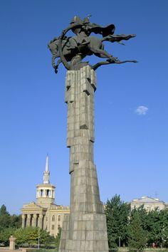 Manas statue, Science College, Bishkek, Kyrgyzstan, Central Asia.