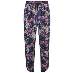 ONLY Women's Mason Loose Trousers - Cloud Dancer ($40) ❤ liked on Polyvore featuring pants, multi, blue pants, short trousers, cut loose pants, floral-print pants and ankle length jeans