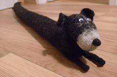 Felted dog - Schnauzer door drafter Felt Dogs, Schnauzer, Lamb, Cow, Handmade, Animals, Animales, Hand Made, Animaux