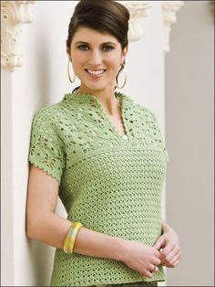 Mandarin Top      ♪ ♪ ... #inspiration #crochet  #knit #diy GB