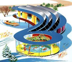 1958 conceptual home - love the indoor pool idea