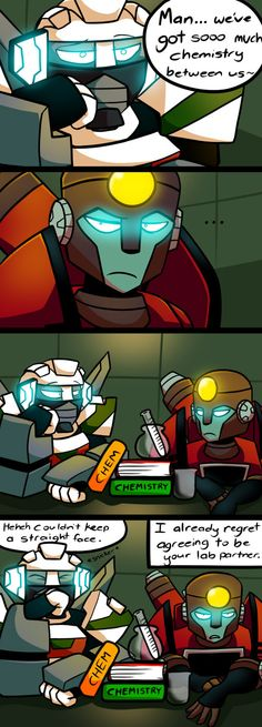 CHEMISTRY by Veloceryx on Deviantart (TFA - Wheeljack and Perceptor meet for the first time XD)