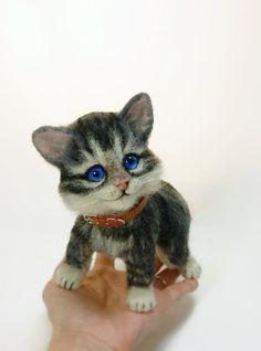 Игольчатые войлочные кошка Животные на заказ войлока игрушки от SvetlanaToys