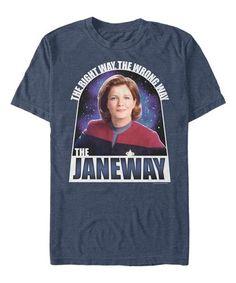 Loving this Star Trek Heather Navy 'The Janeway' Tee - Men on Captain Janeway, Feeling Excited, Star Trek Voyager, S Star, Branded T Shirts, Mens Tees, Graphic Tees, Exploring, Navy Blue