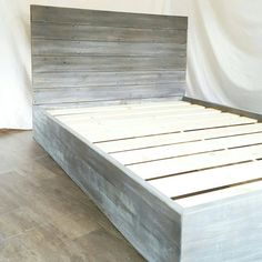 Handcrafted from a mix of woods all customized to give you a sturdy bed while not sacrificing a unique look. The headboard is Reclaimed wood that has a natural worn weathered patina making it a warm and unique piece. The Base is crafted from new(sometimes recycled, but cannot consistently keep up with demand) pine/fir wood and then given a multi-step finish to get that weathered grey wash to match/blend with the old. Includes center beam for support on Full, queen, and king sizes. Includes…