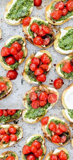 Bruschetta with Ricotta and Pesto. Bruschetta with ricotta cheese pesto and a drizzle of balsamic vinegar is the perfect appetizer or party snack! Vegetarian Recipes, Cooking Recipes, Healthy Recipes, Spinach Recipes, Healthy Desserts, Bariatric Recipes, Yummy Food, Tasty, Yummy Yummy
