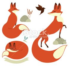 Red Foxes Royalty Free Stock Vector Art Illustration