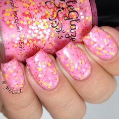 """""""Last for the night from @dazzleglaze is 'little miss taffy'. A super fun light pink crelly with pink and yellow glitters! Perfect in 2 coats! Available today!"""" Photo taken by @gotnail on Instagram, pinned via the InstaPin iOS App! http://www.instapinapp.com (08/07/2015)"""