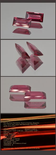 Rich Burmese Red Spinel. Hard to Find Pair, Baguette Cut, 1.75 ct. pair. Super Well Matched!!. Nick in the girdle. Price Low!!.  Loose Spinel Gemstones for sale MdMaya Gems