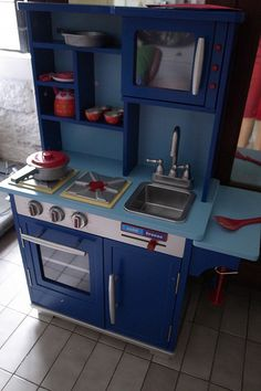 Blue Wooden Play Kitchen teamson kids wooden play kitchen set - td-11414w | kids wooden
