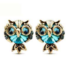 Blue Stationed Owl Stud Earrings