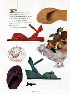 Super fun, totally comfortable looking Joyce summer wedges from the 1950s.