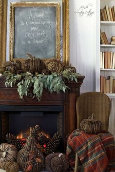 Natural autumn mantel in the cottage - You already know that I am a huge fan of non-traditional colors for autumn. Those sage gre...