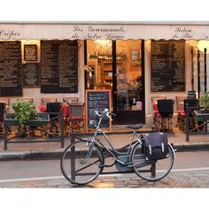 Paris Cafe, Paris Photography, Bike, Cafe Photo Art Prints, Red Paris... ($28) ❤ liked on Polyvore featuring backgrounds and places
