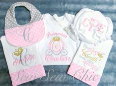 Princess Appliqued Embroidered Ruffled Baby Gown, Bib, Burp Cloths and Diaper Cover