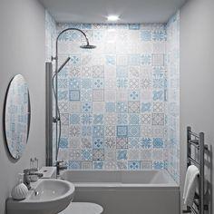 Showerwall Custom Victorian Blue acrylic shower wall panel 1220 x 2440 Bathroom Wet Wall, Bathroom Paneling, Bathroom Wall Panels, Small Bathroom, Bathroom Ideas, Acrylic Shower Walls, Acrylic Wall Panels, Wet Wall Shower Panels, Shower Makeover