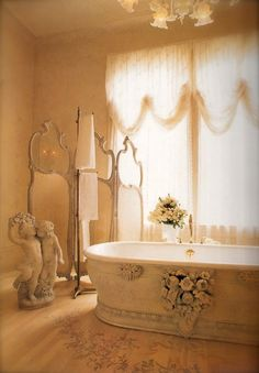 Angelic Tub Room Home Flowers Candles Tub Angels Bath Design Interior  Curtains