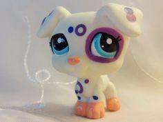 Littlest Pet Shop LPS White Jack Russell Terrier Dog Purple& Blue Dots 2306 #Hasbro #LittlestPetShop