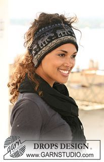 "DROPS head band with pattern in ""Delight"" and ""Fabel"". ~ DROPS Design"