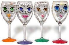 What about purchasing dollar tree wine glasses, then each guest paints their portrait with sharpie upon arrival. Then they take home the glass, none of our personal glasses get broken, and it's easy to keep up with our drinks!