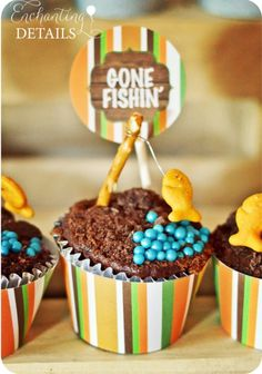 Gone Fishin' Party by Enchanting Details- Fishing Rod Cupcakes | www.enchantingdetails.com