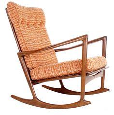 IB Kofod Larsen Danish Mid Century Modern Rocking Chair by Selig in Walnut Eames #SELIG