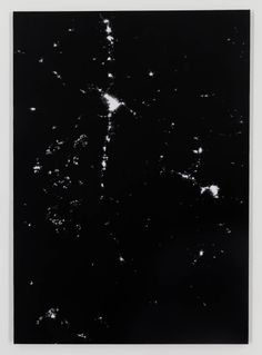 Katie Holten, Constellation (Earth at Night: Latitude: 46.860519, Longitude: -114.019501), 2014, chalk from the Cretaceous era and white charcoal on black primed canvas, 68 x 48 x 1 in