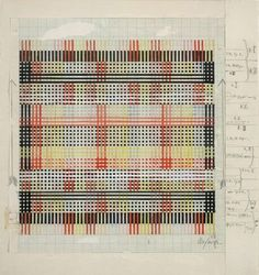 "Inspiration for abstract collage. Anni Albers, ""Design for Tablecloth,"" Includes color graph paper drawing and weaving notes. Textile Patterns, Textile Design, Print Patterns, Floral Patterns, Anni Albers, Josef Albers, Textile Fiber Art, Textile Artists, Bauhaus Textiles"
