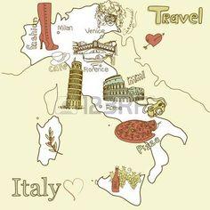 Creatieve kaart van Italië. Bezienswaardigheden in Italië