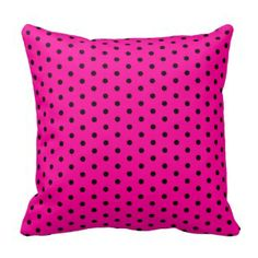 Pink and Black Polka Dot Throw Pillows | Pretty Throw Pillows