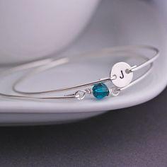 May Emerald Crystal Birthstone Bracelet Set by georgiedesigns