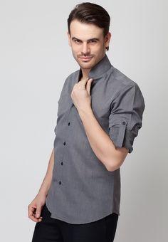 bfb41b158bfa Long Sleeve Dark Grey Linen Shirt With Contrast Buttons - Mksp - Buy Men's  Shirts Online
