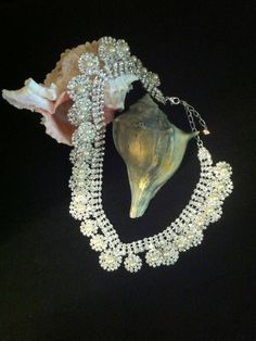 Crystal Rhinestone and White Faux Pearl by PamsPawsJewelry on Etsy