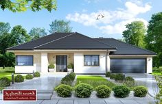 Project of a one-storey house with a garage. Round House Plans, My House Plans, Family House Plans, Modern Bungalow House, Bungalow House Plans, Modern House Design, 4 Bedroom House Designs, One Storey House, Cottage Front Doors