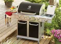Every outdoor space needs a grill--or 2! This Black and Stainless gas grill has all the bells & whistles + a rotisserie and infrared back burner